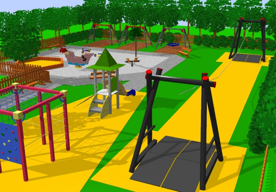 Játszótér tervezés - 3D játszótér terv