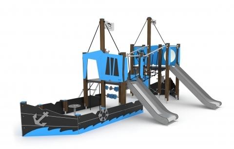 Kalózhajó két toronnyal, csúszdákkal, mászókákkal