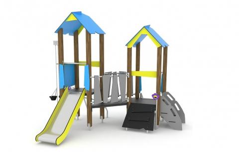 Kéttornyú alacsony játszóvár csúszdákkal, lépcsővel, homokozó vödörrel