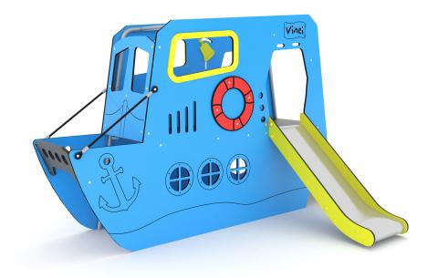 Hajó formájú játék csúszdával, mászókákkal TP 3101