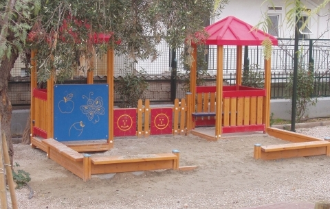 Playhouse with sandbox